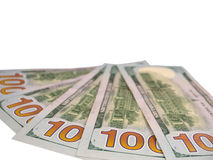 Cem cédulas dos dólares dos EUA isoladas no branco Fotos de Stock Royalty Free