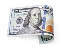 Cem contas de dólar no branco Fotos de Stock Royalty Free