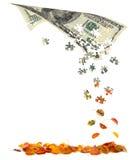 Cem contas de dólar que convertem às folhas de outono Fotografia de Stock Royalty Free