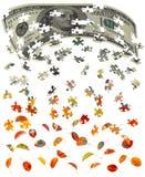 Cem contas de dólar que convertem às folhas de outono Imagens de Stock Royalty Free