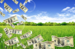 Cem contas de dólar que mergulham em bolhas Fotografia de Stock