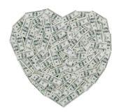 Cem corações de Bill de dólar Imagem de Stock Royalty Free