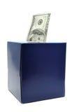 Cem dólares Bill na caixa do tecido Foto de Stock Royalty Free