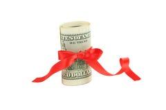 Cem dólares de conta isolada no branco Fotos de Stock Royalty Free