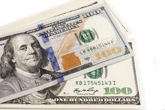 Cem dólares fecham-se acima com um retrato, foco seletivo Fotos de Stock Royalty Free