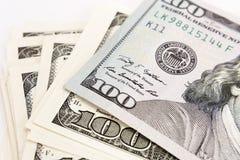 Cem dólares fecham-se acima, foco seletivo Fotografia de Stock Royalty Free