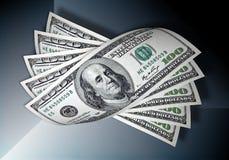 Cem dólares na obscuridade - fundo azul Fotos de Stock Royalty Free