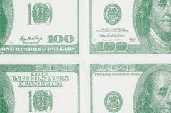 Cem dólares nos quartos Fotografia de Stock Royalty Free
