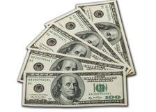 Notas de dólar do dinheiro 100 Fotografia de Stock Royalty Free