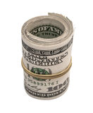 Cem dólares rolados acima Fotos de Stock Royalty Free
