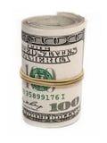 Cem dólares rolados acima Imagens de Stock Royalty Free