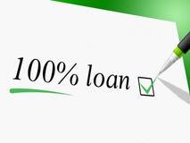 Cem do empréstimo das mostras por cento de avanço e empréstimos do crédito Foto de Stock Royalty Free