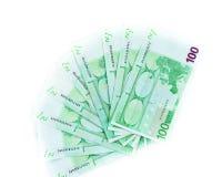 Cem euro- contas isoladas no fundo branco banknotes fotos de stock