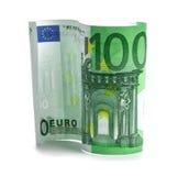 Cem euro em um fundo branco! Fotos de Stock