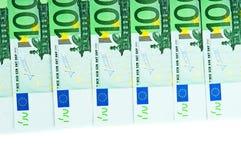 Cem euro- notas de banco Imagens de Stock