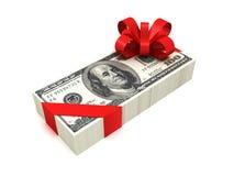 Cem fitas vermelhas amarradas bloco do dólar com curva Imagens de Stock Royalty Free