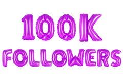 Cem mil seguidores, cor roxa Imagem de Stock Royalty Free