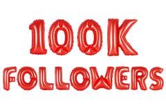 Cem mil seguidores, cor vermelha Imagem de Stock Royalty Free