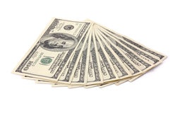 Cem notas de banco do dólar isolaram-se Foto de Stock Royalty Free