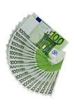 Cem notas de banco dos euro no branco Imagem de Stock Royalty Free