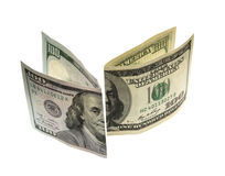 Cem notas de dólar novas e projeto velho Imagens de Stock Royalty Free
