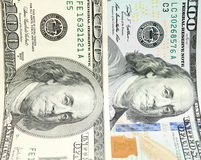 Cem notas de dólar para o fundo Close up velho e novo das cédulas Foto de Stock Royalty Free