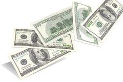 Cem notas de dólar, voando aleatoriamente a partir de baixo Imagem de Stock Royalty Free
