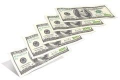 Cem notas de dólar, voando a partir de baixo Imagem de Stock Royalty Free