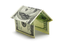 Cem notas do dólar americano Na forma da casa Imagem de Stock