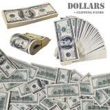 Cem notas do dólar com trajetos de grampeamento fotos de stock royalty free