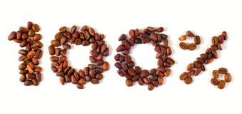 Cem por cento de café Fotografia de Stock Royalty Free