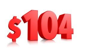 104$ cem quatorze símbolos do preço texto vermelho 3d para render com sinal de dólar no fundo branco ilustração royalty free