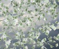 Cem voos das notas de dólar Fotografia de Stock Royalty Free