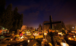 Cematary. Cemetary by Night, All Saints Day Royalty Free Stock Images