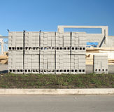 Cememt blocks. Pile of cement building blocks stacked in rows Stock Photo