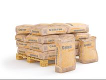 Cement in bags on pallet, 3D rendering Royalty Free Stock Photos