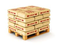 Cement bags on pallet Royalty Free Stock Photography