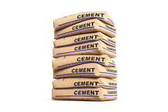 Cement bags. Paper sacks isolated on white background. 3d rendering Royalty Free Stock Image