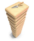 Cement bags stack with trowel. On white background - 3D illustration Royalty Free Stock Photos