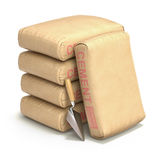 Cement bags with the trowel. Cement bags with trowel on white background - 3D illustration Stock Photos