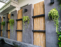 Cement and bamboo wall Royalty Free Stock Photography