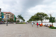 Cement beachfront promenade in Phnom Penh on a cloudy day. Stock Images