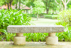 Cement bench in the park. One cement bench and blur green park background stock image