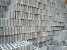 Cement block construction material Stock Images