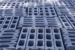 Cement Block In construction site. Builders are building a school fence wall royalty free stock images