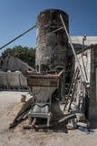 Cement blocks production stock photo