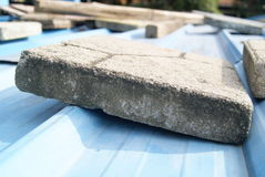 Cement blocks on the roof Stock Images