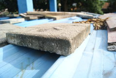 Cement blocks on the roof Royalty Free Stock Images