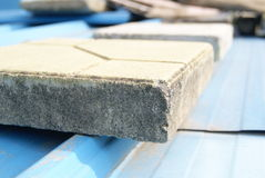 Cement blocks on the roof Royalty Free Stock Photos