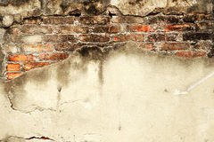 Cement brick wall. Damage of cement brick wall Royalty Free Stock Photography